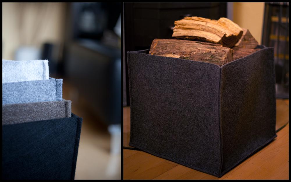 kaminholz filz tasche aufbewahrungs korb aus stabilem. Black Bedroom Furniture Sets. Home Design Ideas